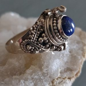 Lapis Lazuli Poison Sterling Silver Ring